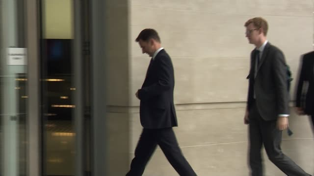 stockvideo's en b-roll-footage met five candidates battling it out for the top job england london bbc new broadcasting house ext jeremy hunt mp getting out of car and along into... - itv lunchtime news