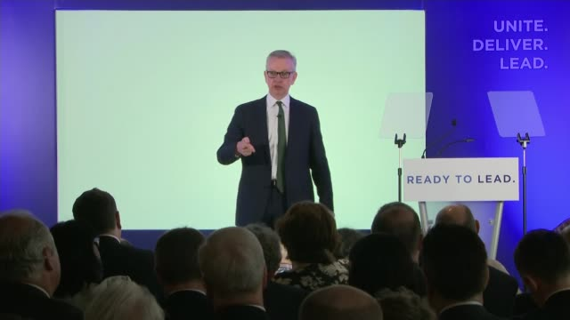 five mps launch campaigns england london int michael gove mp speech sot one thing i will never do as prime minister is to use our tax and benefits... - cut video transition stock videos and b-roll footage