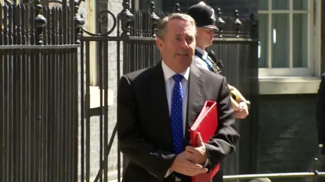 vídeos y material grabado en eventos de stock de conservative party leadership contest: minister depart after attending prime minister theresa may's final cabinet meeting; england: london: downing... - greg james