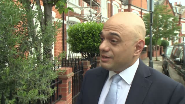 number of mps bidding to become prime minister rises to ten england london ext sajid javid mp along from doorstep and interview sot brexit is clearly... - sajid javid stock videos & royalty-free footage