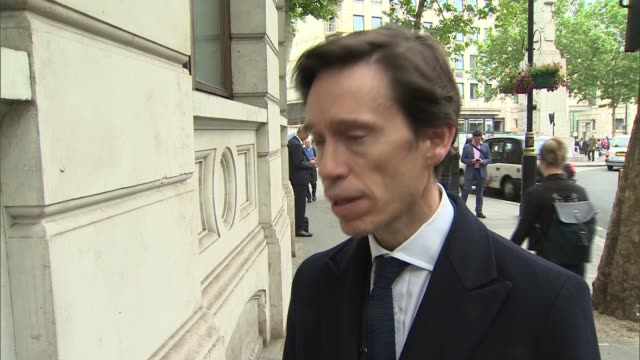rory stewart interview and campaign event england london charing cross ext rory stewart mp speaking to press as arriving for event sot / stewart... - charing cross stock videos and b-roll footage