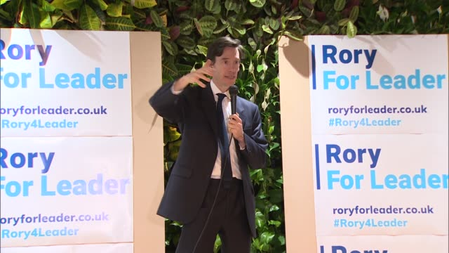 rory stewart interview and campaign event england london charing cross int rory stewart mp speech at campaign event sot with signs 'rory for leader'... - charing cross stock videos and b-roll footage