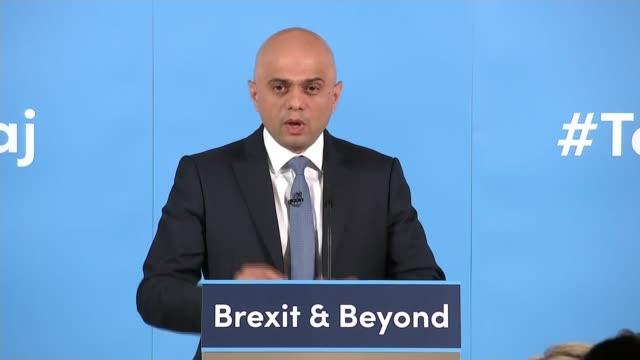 sajid javid leadership campaign launch england london int sajid javid mp speech sot part 1 of 3 - sajid javid stock videos & royalty-free footage