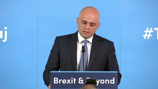 sajid javid leadership campaign launch england london int sajid javid mp speech sot part 3 of 3 - sajid javid stock videos & royalty-free footage