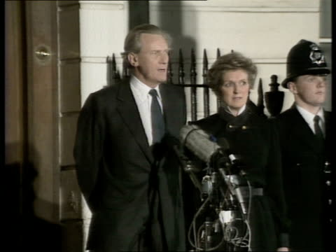 Second Ballot Voting result reaction fC4N Night London Michael Heseltine at doorstep with wife Anne beside as announces he's standing down as...