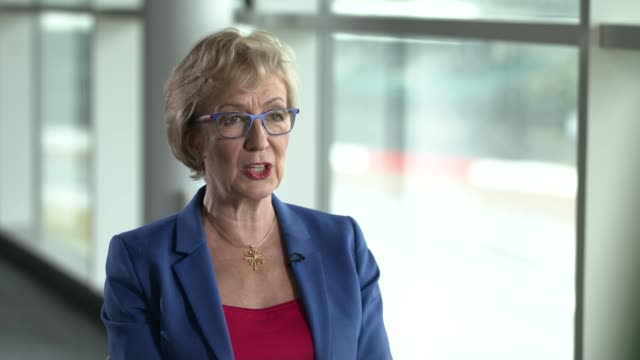 Theresa May officially resigns as Tory leader ENGLAND Northamptonshire Silverstone Circuit INT Andrea Leadsom MP interview SOT