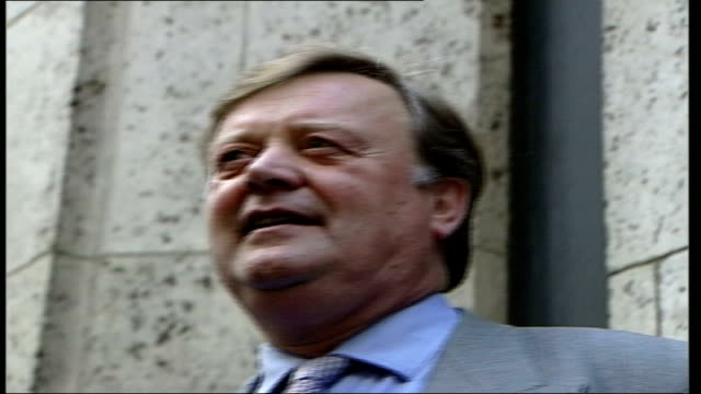 conservative party leadership race: kenneth clarke / malcolm rifkind; itn england: london: ext lms kenneth clarke mp and sir malcolm rifkind along... - mp stock-videos und b-roll-filmmaterial