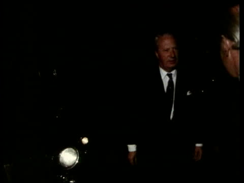 conservative party policy to cut tax on savings lib selsdon park hotel gvs hotel building at night ms edward heath arriving and greeted int meeting... - edward heath stock-videos und b-roll-filmmaterial