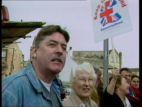 John Townend ITN MS Man in crowd heckling Hague SOT You haven't got the guts go on Mr Hague get rid of Mr Townend he's a racist Hague speaking to...