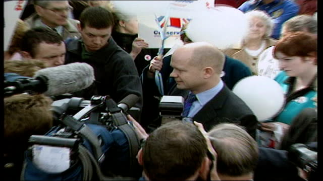 john townend william hague heckled itn england yorkshire pudsey william hague mp walking along through market stalls chatting to people gvs hague... - william hague stock-videos und b-roll-filmmaterial