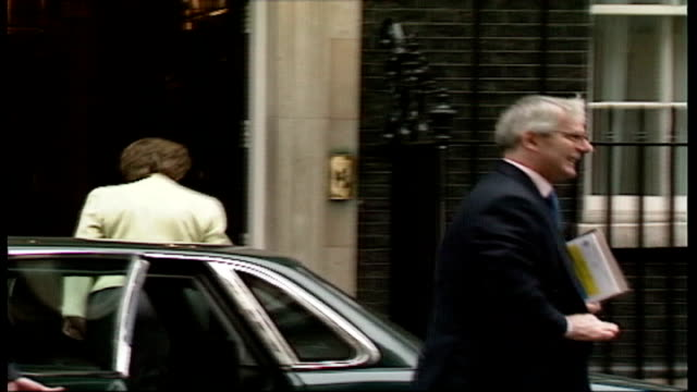 Conservative party report on family life DATE Downing Street John Major MP arriving at Number Ten Downing Street