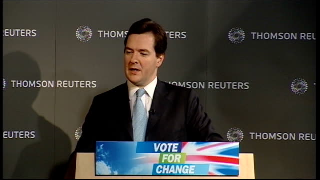 stockvideo's en b-roll-footage met conservative party set out their economic policy osborne speech sot second employment growth gordon brown likes to repeat the claim that he created... - number 9