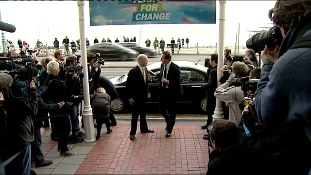 david cameron speech england east sussex brighton hilton brighton metropole hotel ext david cameron mp departing car and arriving at hotel as greeted... - william hague stock-videos und b-roll-filmmaterial