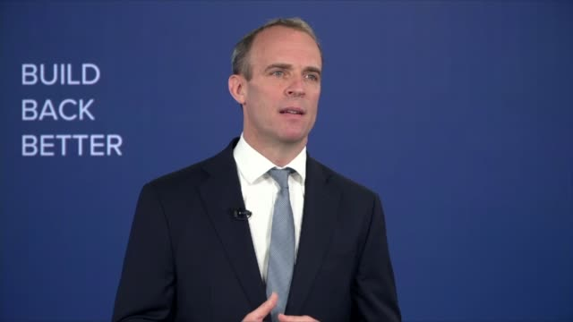 vídeos de stock e filmes b-roll de conservative party virtual conference: dominic raab speech; part 1 of england: int dominic raab mp speech sot - that's during the general election.... - partido conservador britânico