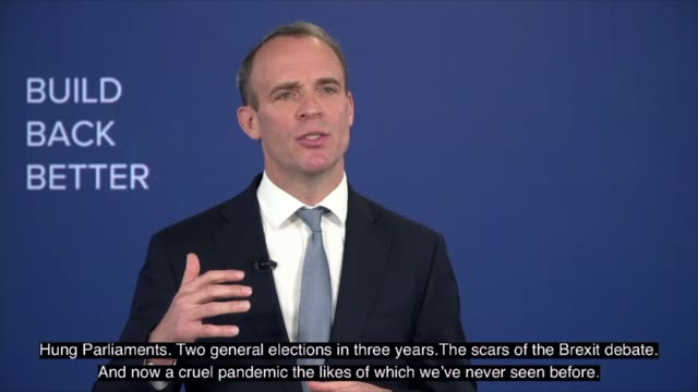 vídeos de stock e filmes b-roll de conservative party virtual conference: dominic raab speech; part 2 of 2 england: int dominic raab mp speech sot - and you'd think from some of the... - partido conservador britânico