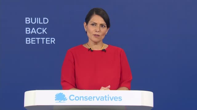 conservative party virtual conference: priti patel speech; part 2 of 5 england: int priti patel mp speech sot - whenever, i have the privilege of... - protection stock videos & royalty-free footage