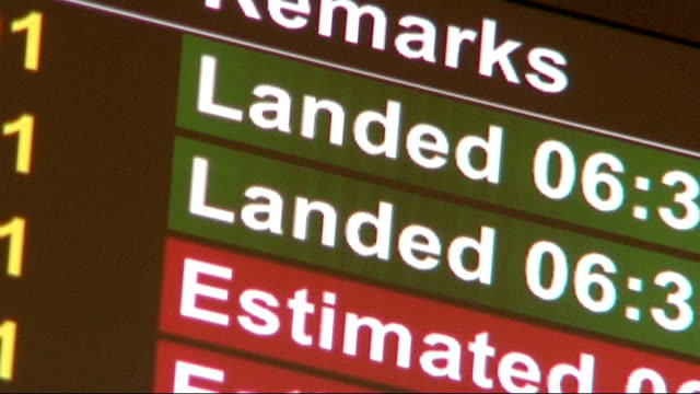 Conservatives and Labour launch plans on welfare ENGLAND INT Arrivals screen at airport showing flights from Vilnius Sofia and Gdansk People entering...