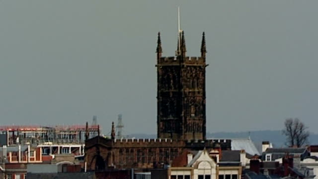conservatives and the ethnic community vote; england: wolverhampton: ext various of wolverhampton city rooftops with religious buildings including... - turmspitze stock-videos und b-roll-filmmaterial