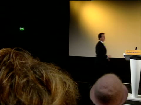 cameron appeals to liberal democrat voters in speech; england: herefordshire: hereford: int david cameron mp up to podium zoom in clean feed tape =... - herefordshire bildbanksvideor och videomaterial från bakom kulisserna