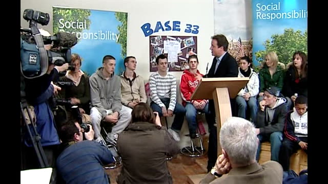 conservatives consider tax breaks for married couples oxfordshire witney base 33 int cameron chatting to youths at base 33 voluntary youth... - oxfordshire stock videos & royalty-free footage