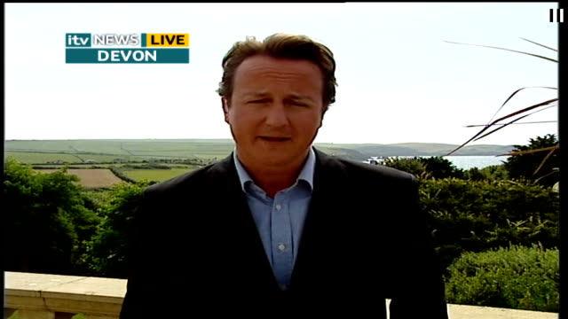 david cameron interview on the environment england londongir / devon ext david cameron mp live 2way interview from devon sot need all political... - itv lunchtime news stock-videos und b-roll-filmmaterial