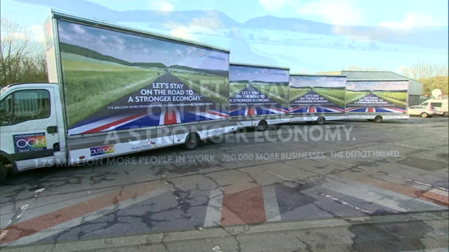 conservatives launch 'deficit' campaign poster; unidentified location: ext advertising trucks displaying new conservative party campaign poster -... - stationary stock videos & royalty-free footage