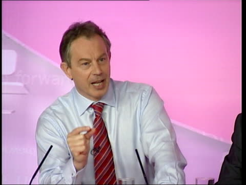 conservatives: mrsa: howard accused of exaggerating figures; london: labour hq: int tony blair press conference sot - they put out crime figures the... - staphylococcus aureus stock videos & royalty-free footage
