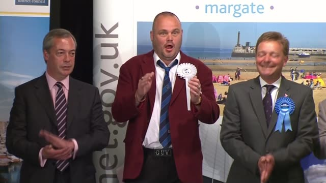 conservatives retain hendon; kent: thanet: int various of candidates, including nigel farage , comedian al murray and new conservative mp craig... - al murray stock videos & royalty-free footage