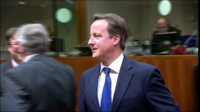 conservatives rule out ukip pact over europe lib brussels int gvs david cameron along at european council summit on the eu budget - 英国独立党点の映像素材/bロール
