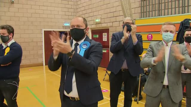 conservatives win hartlepool by-election and make gains in local elections; england: county durham: hartlepool: ext various of boris johnson mp with... - 演壇点の映像素材/bロール