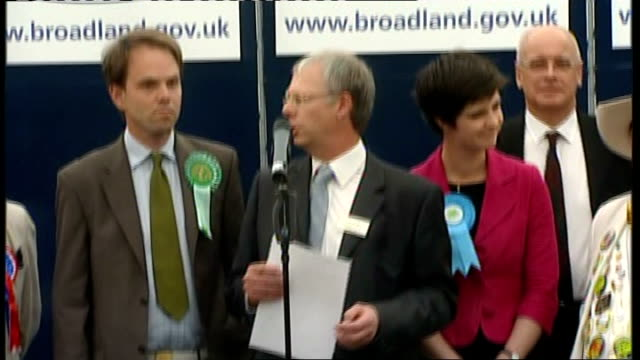 conservatives win norwich north by-election: by-election declaration; england: norfolk: norwich: int norwich north by-election candidates on stage as... - aprile video stock e b–roll