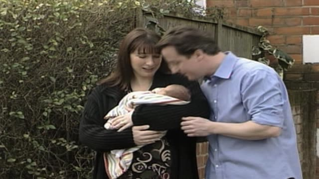 Conservatve Party leader David Cameron and wife Samantha following birth of their new baby UK