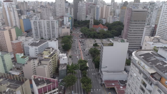 consolacao and sao paulo downtown aerial view - avenue stock videos & royalty-free footage