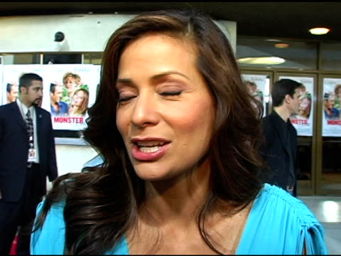 constance marie on being very excited that jane fonda is back in business, she worked with jennifer lopez on salena and is proud of how far she's... - ジェーン・フォンダ点の映像素材/bロール