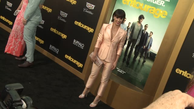 """constance zimmer at """"entourage"""" los angeles premiere at regency village theatre on june 01, 2015 in westwood, california. - regency village theater stock videos & royalty-free footage"""