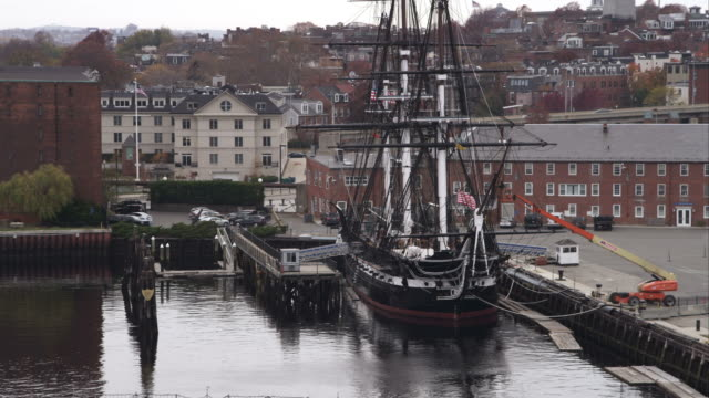 uss constitution at dock in boston harbor. shot in november 2011. - uss constitution stock videos and b-roll footage
