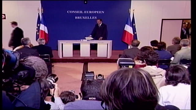 blair and chirac disagree; pool belgium: brussels: int side cms tony blair mp and jacques chirac talking at european union constitution meeting and... - television show stock videos & royalty-free footage