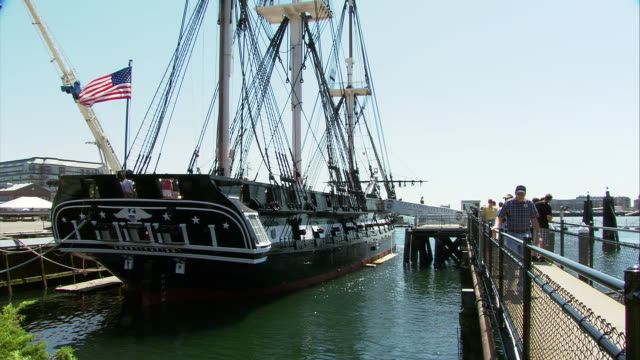 ws uss constitution first launched in 1797 ('old ironside') at charlestown navy yard / boston, massachusetts, usa - uss constitution stock videos and b-roll footage