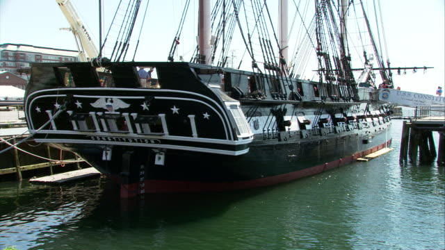 ms uss constitution first launched in 1797 ('old ironside') at charlestown navy yard / boston, massachusetts, usa - uss constitution stock videos and b-roll footage