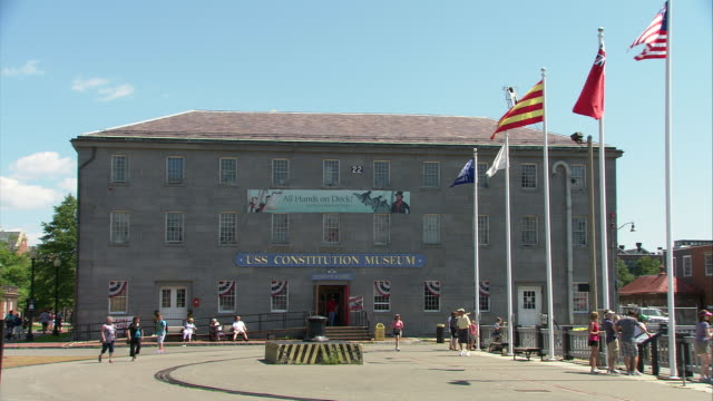 ws uss constitution museum exterior / boston, massachusetts, usa - uss constitution stock videos and b-roll footage
