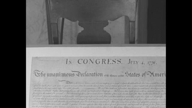 constitution / page with article vii and signatures grouped by state / page with signatures at bottom including john hancock / cu document beginning... - präsentation hinter glas stock-videos und b-roll-filmmaterial