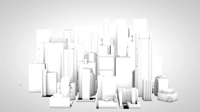 vídeos de stock e filmes b-roll de hd construção 3d de edifícios arranha-céus da cidade arranha-céus horizonte - fazer