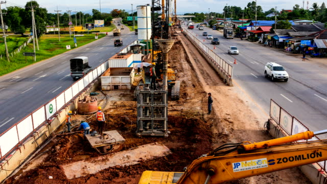 construction 4k timelapse - road construction stock videos and b-roll footage