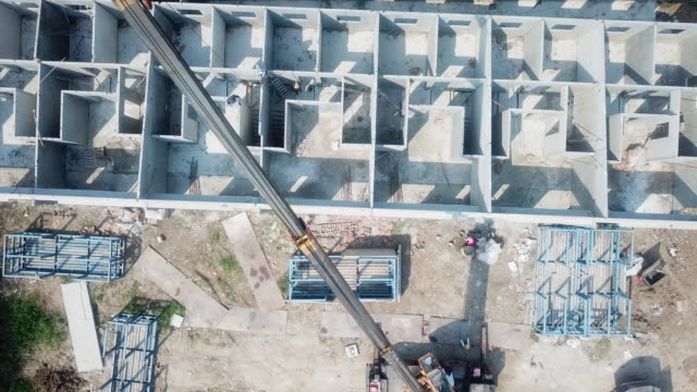 construction aerial top view - zoom in stock videos & royalty-free footage