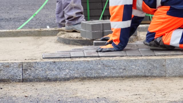 construction and laying of paving - block shape stock videos & royalty-free footage