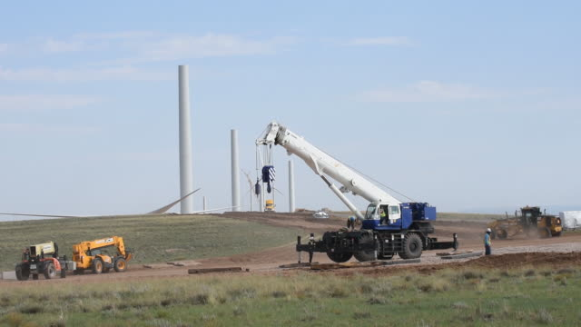 construction and wind turbines at la joya wind farm an avangrid renewables location in encino new mexico us on wednesday august 5 2020 - horizon over land stock videos & royalty-free footage