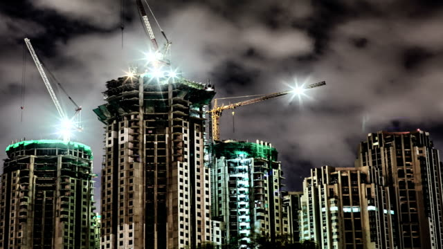 Construction building at night