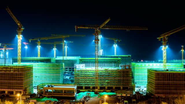 construction building at night,time lapse - montreal video stock e b–roll