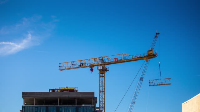 Construction Crane Disassembly - Time Lapse