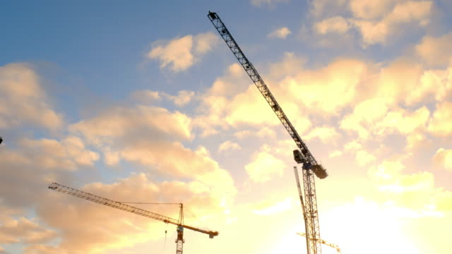 Construction cranes and construction works in Reykjavik, Iceland